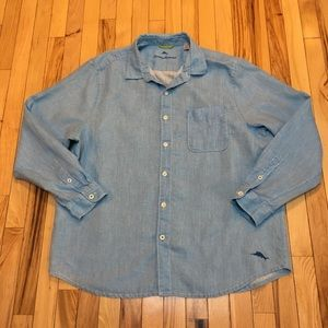 Tommy Bahama Blue Linen Button Down Size XL